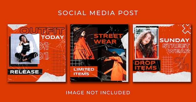 Instagram post orange street fashion set template