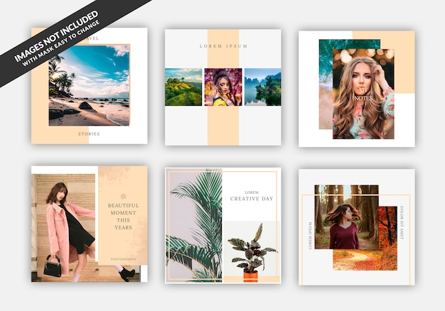 Instagram post sale square banner template for fashion stores, set