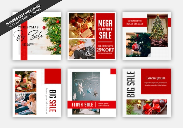 Instagram post sale square banner template with christmas theme