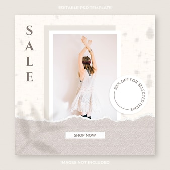 Instagram post and social media feed fashion banner template