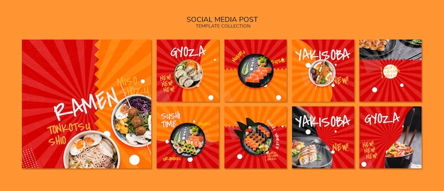 Modello di instagram post o banner quadrato per ristorante giapponese asiatico o sushibar