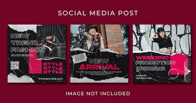 Набор шаблонов уличной одежды или флаеров для постов в instagram премиум psd