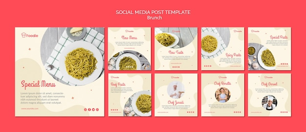 Instagram post template collection for restaurant