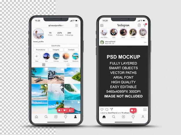 스마트 폰의 프로필 및 피드 스토리를위한 instagram 게시물 템플릿. 전면보기 휴대 전화 모형