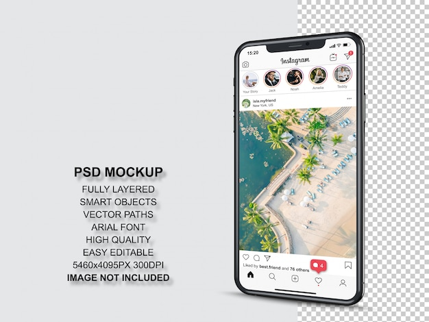 スマートフォン用のプロフィールとフィードストーリーのinstagram投稿テンプレート。分析観点ビュー携帯電話のモックアップ