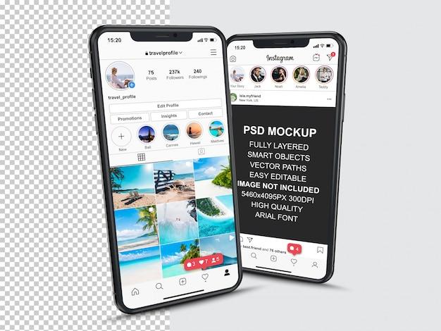 스마트 폰의 프로필 및 피드 스토리를위한 instagram 게시물 템플릿. 투시도 휴대 전화 모형