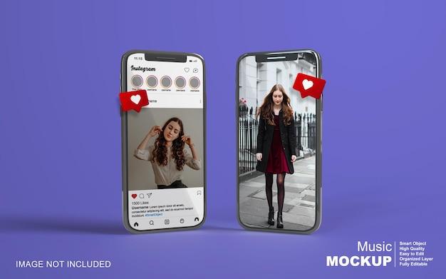 Instagram post template on mobile phone mockup