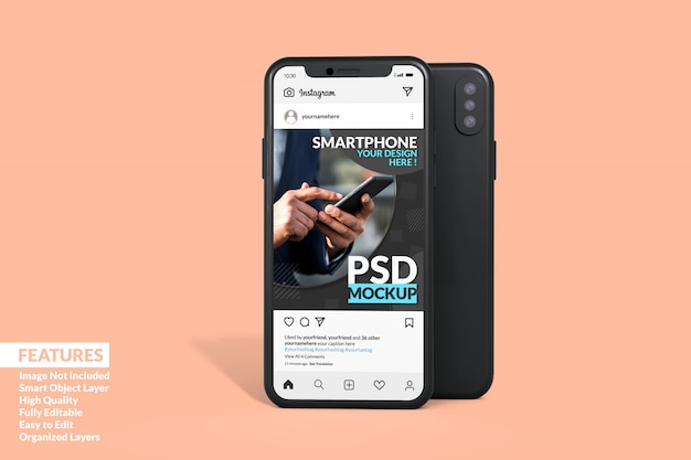 Instagram post template on phone mockup premium