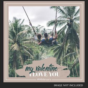 Творческий современный романтический день святого валентина instagram post template и photo mockup
