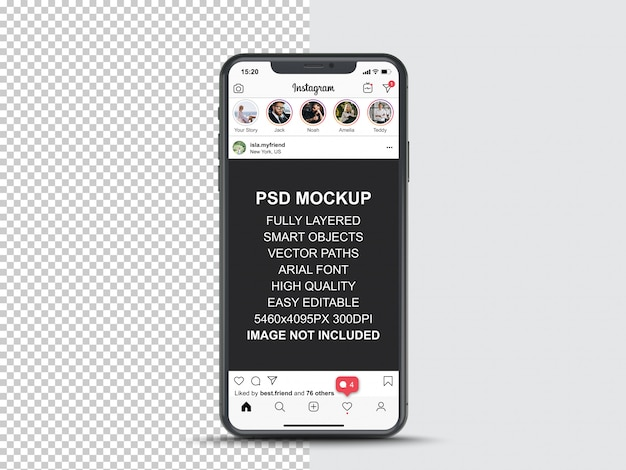 Instagram post template for profile and feed stories on smartphone. front view mobile phone mockup