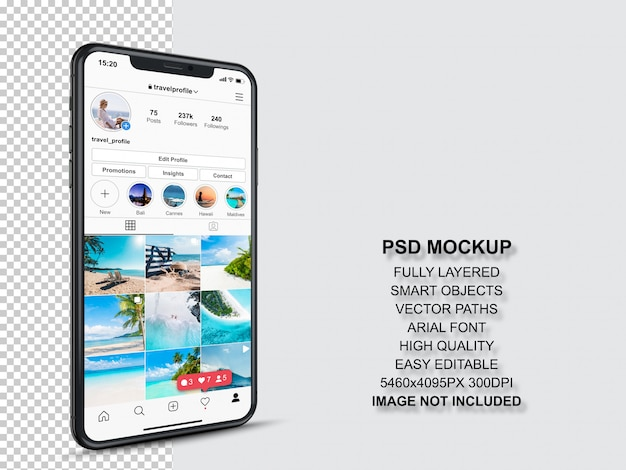 Instagram post template for profile and feed stories on smartphone. perspective view mobile phone mockup