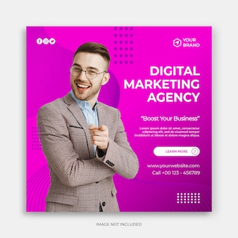 Instagram post template or square flyer with digital marketing banner or ads promotion concept