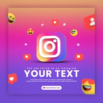 Instagram post template with emojis and icons