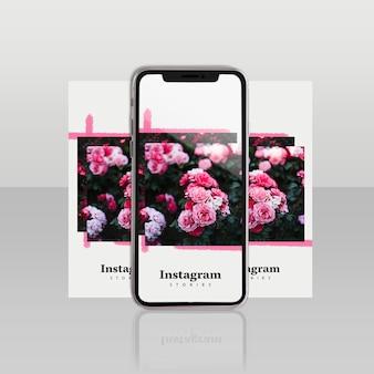 Шаблон поста в instagram с смартфоном и цветочной концепцией