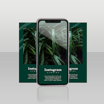 Instagram post template with smartphone and floral concept