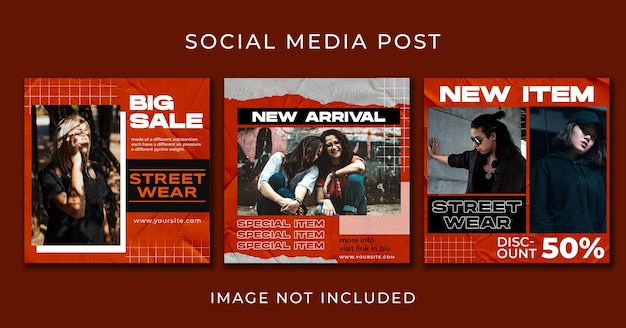 Instagram post urban fashion banners template collection set