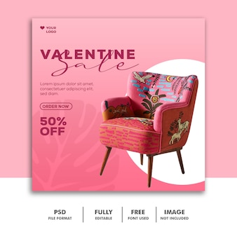 Диван распродажа шаблон instagram post valentine