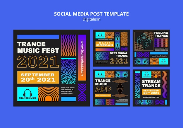 Instagram posts collection for 2021 trance music fest