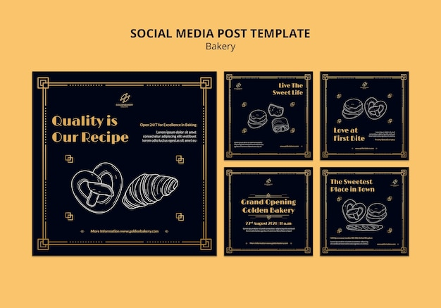 Instagram posts collection for bakery shop with hand drawn blackboard