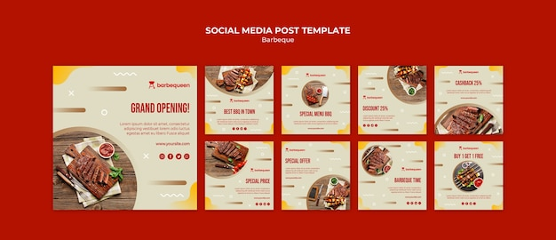 Instagram posts collection for barbecue restaurant
