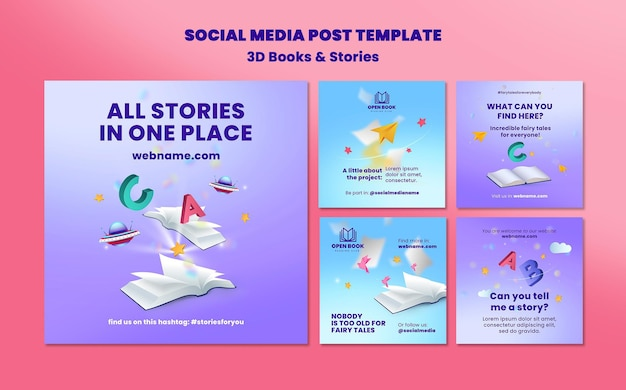 Instagram posts collection for books with stories and letters