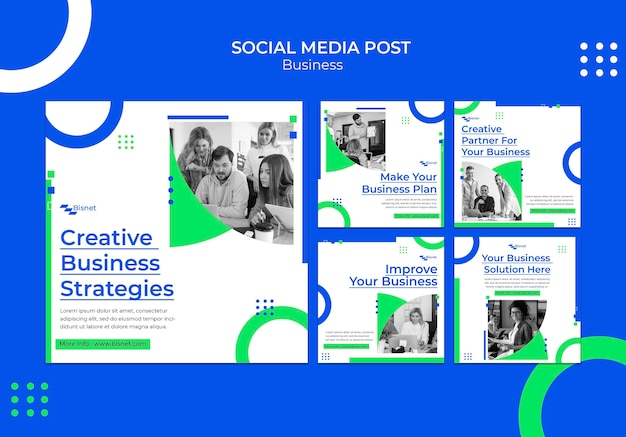 Instagram posts collection for business solution with monochrome photo