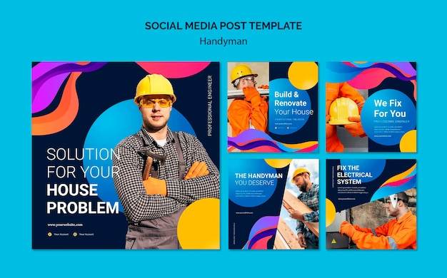 Instagram posts collection for company offering handyman services