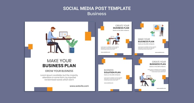 Instagram posts collection for company with creative business plan
