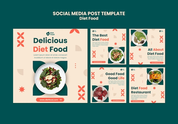 Instagram posts collection for diet food Free Psd