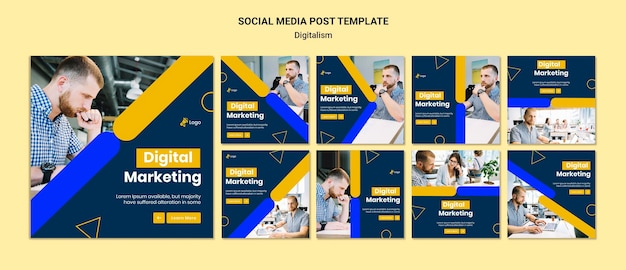 Raccolta di post di instagram per il marketing digitale