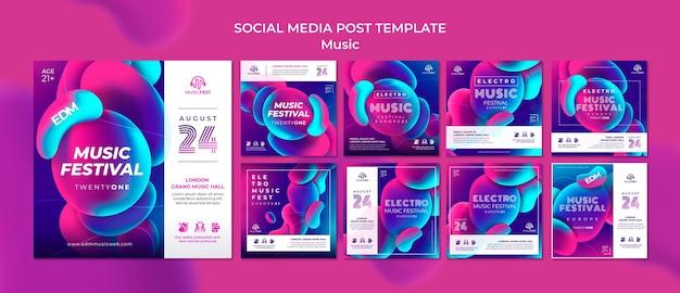 Raccolta di post su instagram per festival di musica elettronica con forme di effetto liquido al neon
