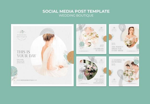 Collezione di post su instagram per eleganti boutique per matrimoni