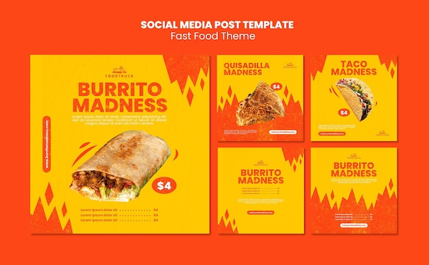 Raccolta di post di instagram per fast food