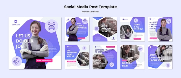 Instagram posts collection for female auto mechanic Premium Psd