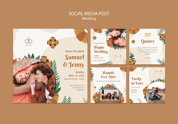 Instagram posts collection for floral wedding with leaves and couple