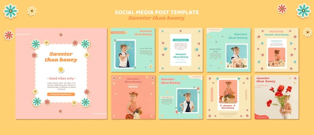 Коллекция постов в инстаграм для детей с цветами