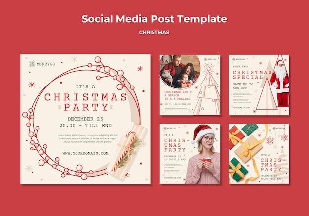クリスマスセールのためのinstagramの投稿コレクション