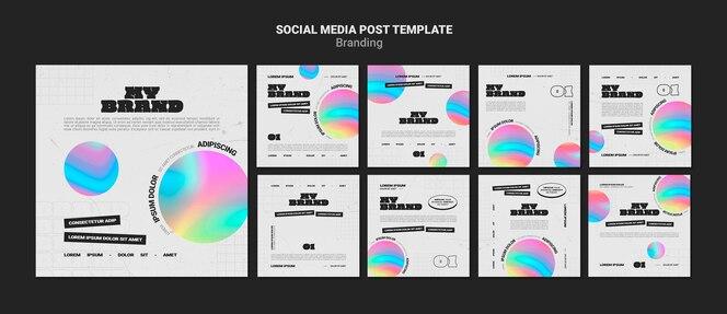 Коллекция постов в instagram для брендинга компании с красочной формой круга