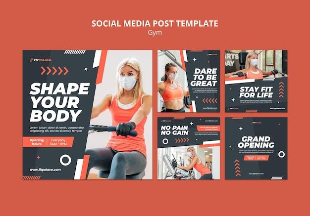 Коллекция постов в instagram для тренировки в тренажерном зале с женщиной в медицинской маске