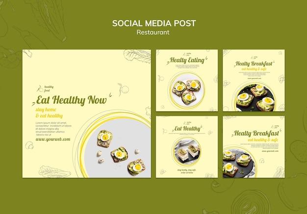 Коллекция постов в инстаграм для здорового завтрака с бутербродами