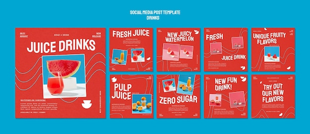 Instagramは健康的なフルーツジュースのコレクションを投稿します 無料 Psd