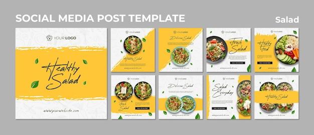 Коллекция постов в инстаграм для здорового обеда из салата Premium Psd