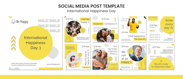Коллекция постов в instagram к международному дню счастья