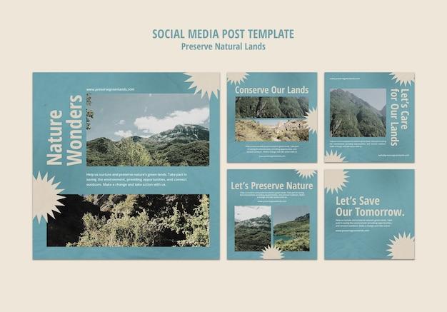 Коллекция постов в инстаграм для сохранения природы с пейзажем