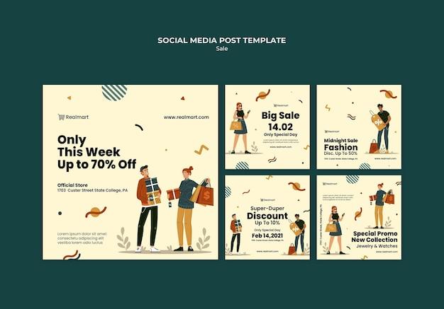 Коллекция постов в instagram на продажу с людьми и сумками