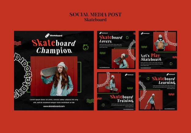 Коллекция постов в instagram для скейтбординга с женщиной