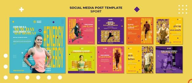 Коллекция постов в инстаграм для спорта с мотивационными цитатами Premium Psd