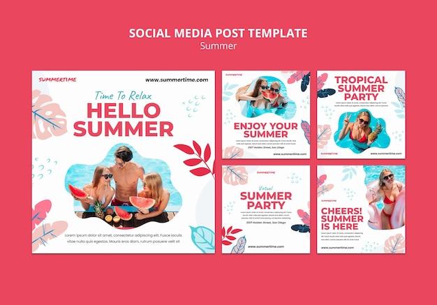 Коллекция постов в инстаграм для летних развлечений у бассейна Бесплатные Psd