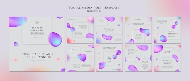 투명하고 안전한 뱅킹을위한 Instagram 게시물 모음 프리미엄 PSD 파일
