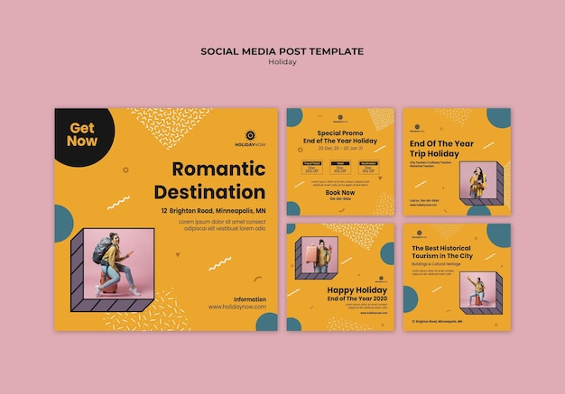 여성 백패커와 함께하는 휴가를위한 인스 타 그램 게시물 모음